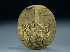 Ovales Bronzerelief mit Darstellung einer Pieta