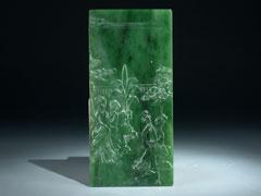 Bildrelief-Platte in Jade