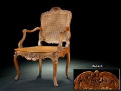 Rokoko-Sessel mit Korbgeflecht