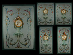 Außerordentlich seltener und ebenso schöner Satz von fünf raumfüllende Wand-Dekorationsgemälden aus einem Pariser Palais des 18. Jahrhunderts.