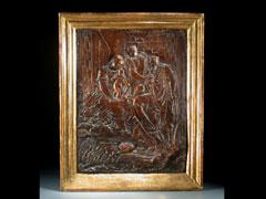In Leder geprägtes Reliefbild des 18.Jhdts.