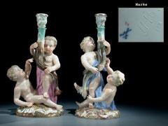 Meissner Figurengruppe als Paar Kerzenhalter