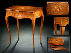 Hochbedeutendes Museales Tischchen Von Abraham Und David Roentgen