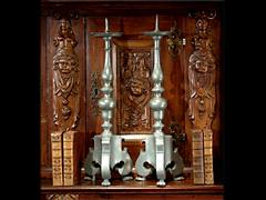Paar Altarkerzenleuchter in Zinn