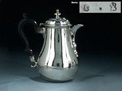Silberne Mokka-Kanne des 18. Jhdt.