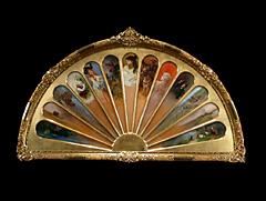 Großer Künstler-Fächer in vergoldetem Rahmen