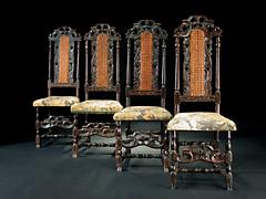 Satz von vier barocken Lehnstühlen