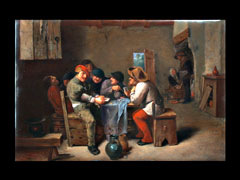 Porzellan-Gemälde von Franz Schier 1852 Neuwelt-Harrachsdorf/Riesengebirge - 1922 München. Nach A. Brouwer