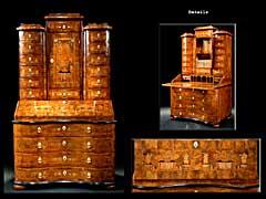 Eleganter und fein intarsierter, barocker Tabernakel-Sekretär