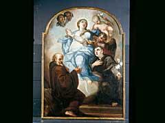 Johann Degler  1666 Vilnöss - 1729 Tegernsee, zugeschrieben  DER HL. BERNHARD IN ANBETUNG DER APOKALYPTISCHEN MADONNA  Der Heilige im Ordenskleid knieend vor der Wolke, auf der Madonna im Anbetungsgestus schwebt, umgeben von Engeln und Engelsköpfen. In