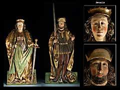 Paar gotische Relieffiguren zweier Heiliger: