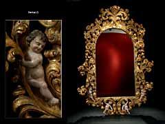 Großer, barocker, geschnitzter und vergoldeter Spiegel