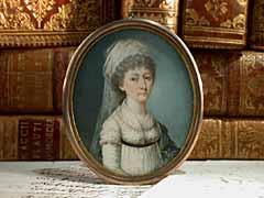 Miniaturportrait einer Dame in weißem Chiffonkleid