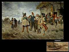 Detailabbildung: Friedrich von Puteani 1849 Prag - 1917 München Maler der Münchener Schule, Schüler von Wilhelm Diez, ab 1883 in Venedig ansässig. Gemälde seiner Hand ehemals in der Galerie Thannhauser vertreten.