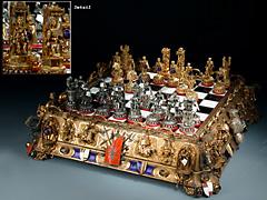 Äußerst seltenes und reich gearbeitetes Schachspiel