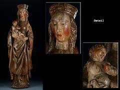 Große Schnitzfigur einer Madonna mit Kind (Abb. rechts)