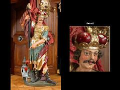 Große Schnitzfigur des Heiligen Florian