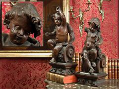 Paar geschnitzte Puttenfiguren