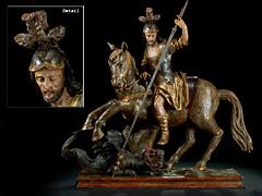 Großformatige Figurengruppe des reitenden Sankt Georg