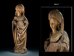 Spätgotische Schnitzfigur einer weiblichen Heiligen