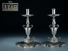 Paar Spanische Silberkerzenleuchter