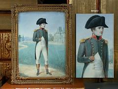 Miniaturgemälde: Napoleon stehend in einem Schloßpark vor Schloßfassade