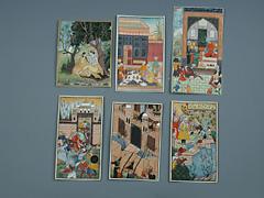 Sammlung von sechs persischen Miniaturmalereien auf Elfenbein