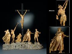 Geschnitzte Kreuz-Figurengruppe des 18. Jahrhunderts
