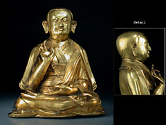 Vergoldeter Bronze-LamaTibet, 15./16 Jahrhundert