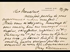 POSTKARTE VON MAX LIEBERMANN IN FRANZÖSISCHER SPRACHE VOM 10.11.1901