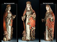 Bedeutende gotische Skulptur der Hl. Katharina