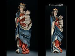 Holzgeschnitzte und gefasste Madonna mit dem Kind