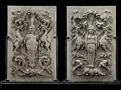 Seltenes Paar Sandsteinreliefs