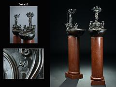 Seltene Bronzeleuchter in Form von großen Öllampen von August Vogel 1859 - 1932 Berlin