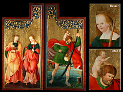 Detailabbildung: Zwei Flügel eines Altarschreins, Oberrheinischer-schwäbischer Meister um 1500.