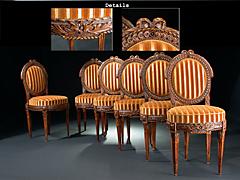 Sechs Louis XVI-Stühle