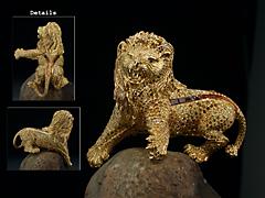 Bedeutende Skulpturen-Brosche eines Löwen mit einem Besatz von 2099 Brillianten