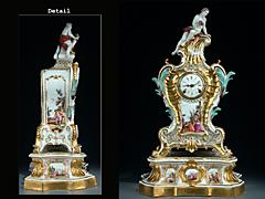 Seltene Meissner Kamin-Uhr auf SockelNach dem Modell von Johann Joachim Kaendler, 18. Jahrhundert
