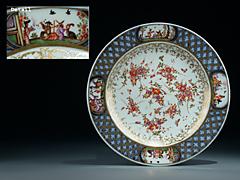 Meissner Porzellanteller mit Chinoiserienund der großen Schwertermarke von 1725 - 1730