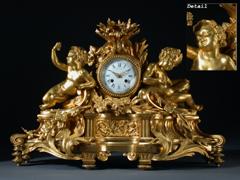 Grosse, aufwendige Bronzeuhr von Raingo Freres A Paris