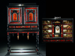 """Detailabbildung:  Schildpatt-Kabinettschrank mit gemalten Szenen aus den """"Metamorphosen"""" von Ovid, den"""