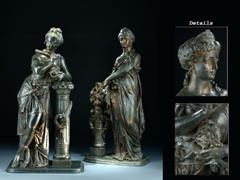 Paar klassizistische Bronze-Statuen: Melopmene und Thalie
