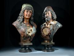 Paar Terracotta-Büsten