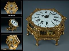 Waagerechte Tischuhr des 18. Jahrhunderts Feinstes Dresdener RokokoMeister: Johann Gottlieb Leukert, Dresden Meister 1752. Gest. 1795.