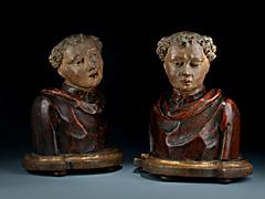 Detail images: Paar Heiligenbüsten