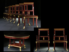Qualitätvolle Garnitur von Stühlen, Armlehnstühlen und Tisch
