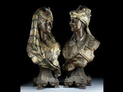 Zwei Büsten eines orientalischen Paares