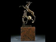 Bronzefigur des Art Déco Monogrammist W.F.
