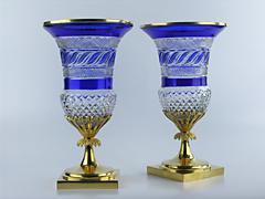 """Kaiserliche Glashütte St. Petersburg Paar russische """"Medici""""-Vasen"""