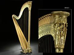 Harfe des französischen Instrumentenbauers Sébastien Érard in Straßburg